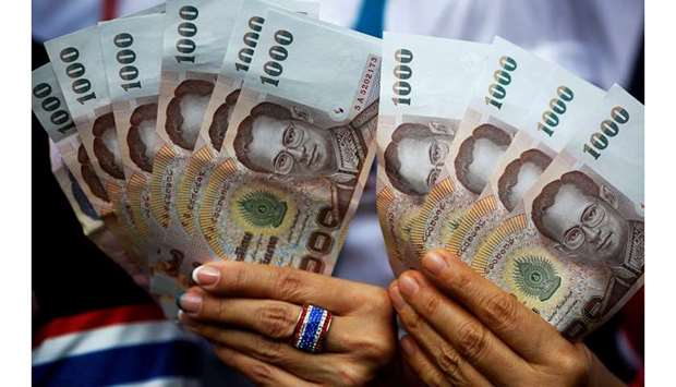 Thai baht advanced as much as 0.3% yesterday to 30.187 per dollar, the strongest level since May 201